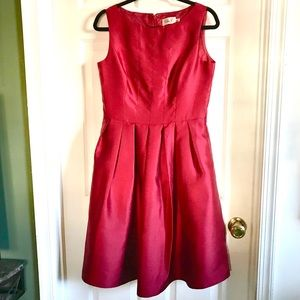 Eliza J red satin look fit and flare party dress